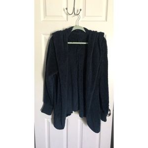 Faux fur navy cardigan with hood.